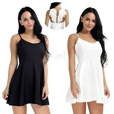 Women Sexy Angel Wings Plunge V-neck Backless Skater Evening Party Mini Dress