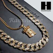 "Iced out 14k Gold PT Jesus 5mm Miami Cuban Chain /30"" Iced Out Chain Necklace S7"