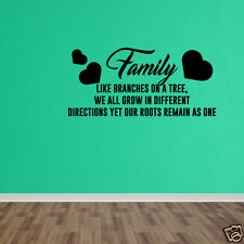 Vinyl Sticker Quote Family Tree Roots Branches Home Vinyl Wall Art Decal DP201
