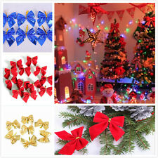 Bows Ornament 12pcs Merry Christmas Tree Bow Decoration Baubles Party Garden