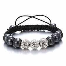 Women Men Charm Handmade Braided Woven Crystal Rhinestone Beads Bracelet Gifts