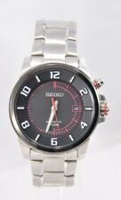 Men's Seiko SKA553 Stainless Steel Band Black W/ Red Accent Kinetic Dial Watch