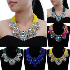 Fashion Silver Chain Resin Seed Bead Crystal Charm Choker Statement Bib Necklace