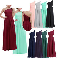 Women One-shoulder Chiffon Long Evening Prom Gown Dress Cocktail Bridesmaid