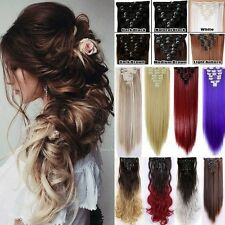 New Real Thick Full Head Clip In On Hair Extensions 8Pcs/Set Long Curly Wavy UK