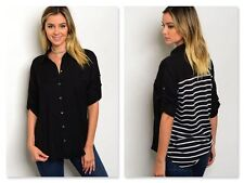 NWT SOLID FRONT BLACK BLOUSE W/STRIPED BACK & ROLL TAB SLEEVES (S, M)