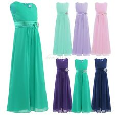 Kids Girls V Neck Bowknot Chiffon Long Dress Pageant Bridesmaid Party Dress