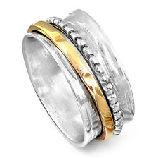 Solid 925 Sterling Silver Spinner Ring 2 Tone Spinning Hammered Wide Band Size