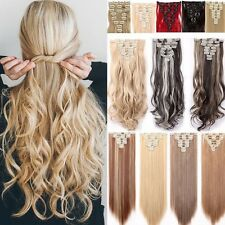 100% Thick Weft Clip In Full Head Hair Extensions 8Pcs 18Clips On Hair Piece UK