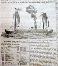 1833 newspaper w Long ILLUSTRATED DETAILED ESSAY History o STEAM POWER for SHIPS