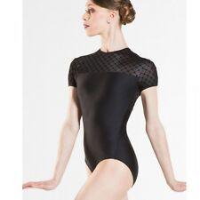 Ladies Black Wear Moi Venus Cap Sleeved Ballet Dance Leotard
