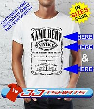 Vintage Jack Daniels style T-shirt Personalised Birthday Fathers Day Grand Dad