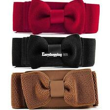 New Women's Girls Graceful Bowknot Elastic Lovely Belt With Buckle ES9P 01