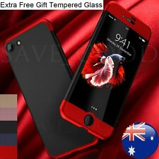 Luxury 360° Protective Slim Hard Case +Tempered Glass Cover For iPhone 6s 7 Plus