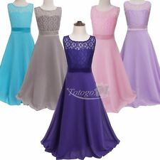 Flower Girls Lace Tulle Dress Formal Pageant Wedding Bridesmaide Party Ball Gown