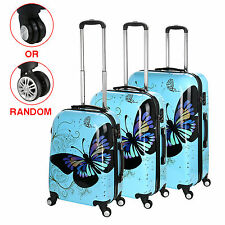 20'' 24'' 28'' Blue Luggage 4 Wheel Spinner Suitcase PC Butterfly Pattern Travel
