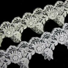 1M IVORY WHITE BLACK BEADED LACE BRIDAL WEDDING TRIM TRIMMINGS 11.5cm