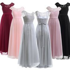 Lace Long Chiffon Wedding Formal Evening Party Bridesmaid Ball Gown Prom Dress