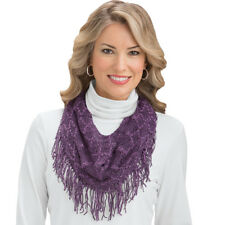 Crochet Tassel Fringe Infinity Scarf, by Collections Etc