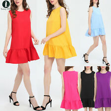 New Women O-Neck Loose Sleeveless Summer Short Mini Dress Casual Solid Sundress