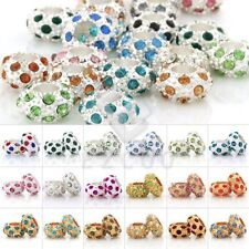 5pcs Center Drilled Crystal Beads Pave Rondelle Craft Charm DIY Jewelry Makings