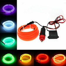 EL Wire Rope Tube Flexible LED Strip Neon Light  Decor + Car Cigarette Lighter
