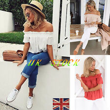 UK Ladies Women Short Sleeve Blouse Off Shoulder Gypsy Tops Casual Loose T Shirt