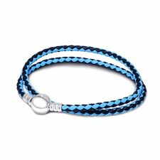 Blue & Black Leather Silver Bracelet Chain Fit European 925 Sterling Charm Beads