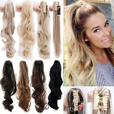 UK Real Thick Long Claw on Ponytail Clip in Hair Extensions Piece Curly Wavy L35
