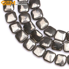 Natural Stone Genuine Silver Gray Pyrite Twist Beads For Jewelry Making 15''