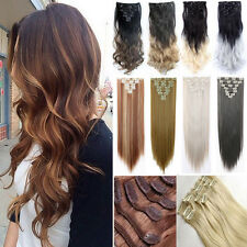 Natural Thick Full Head 8pcs/set Clip in Hair Extensions Ombre Dip Dye as Remy D