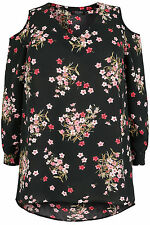 YoursClothing Plus Size Womens Tee Shirt Top Ladies Floral Cold Shoulder Blouse