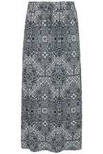 YoursClothing Plus Size Womens Tapestry Print Pull On Maxi Skirt Side Splits