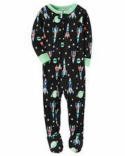 Carter's Boys' Footed Cotton Pajamas Glow in the Dark Spaceships 4T 5T