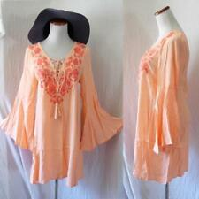 NEW Peasant PEACH Embroidery LACE UP Mexican BELL SLEEVE Hippie FESTIVAL DRESS