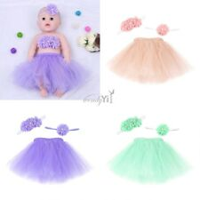 3 PCS Newborn Baby Girls Tulle Tutu Skirt with Wrapped Flower Headband Dresses