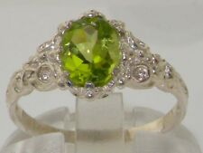 English Hallmarked Solid 925 Sterling Silver Natural Peridot Solitaire Ring