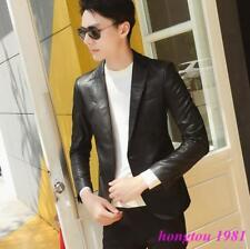 Mens Fashion Slim Fit PU Leather Blazer Jacket Clubwear Coat Motor Biker Jacket