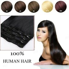 """Natural Black Hair 10""""-22"""" Clip In Extensions Remy 100% Human Hair Full Head II3"""