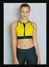 NWT REEBOK Cardio Sports Bra Zip Crop Top Fitness Cross Fit Yellow Neoprene