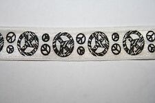 10 yards White Black Peace Signs stretch foldover elastic FOE 5/8""