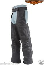 BRAIDED LEATHER MOTORCYCLE CHAPS WITH POCKETS 7XL TO 10XL NEW UNISEX C336*01