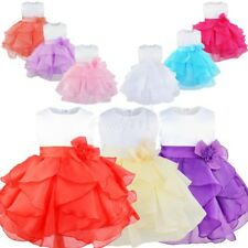 Infant Baby Girl Organza Tutu Dress Princess Baptism Party Gown Bridesmaid Dress