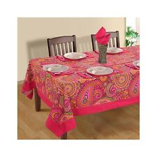 Pink Tablecloth Rectangular Table Linen Paisley Printed New Table Cover Runner