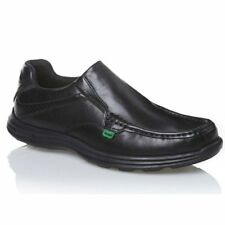 Kickers REASAN SLIP Mens Casual Office Comfy Genuine Leather Slip-On Shoes Black