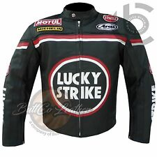 LUCKY STRIKE BLACK Cowhide Real Leather Motorbike Biker Jacket for motorcyclist
