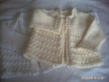 Hand Knitted Baby Girls Cardigan/Jacket With Picot Edging Size 3-6 Months.