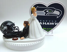 Wedding Cake Topper Humorous Seattle Seahawks Themed Football Sports Bride Groom
