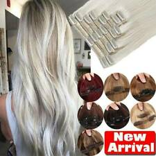 Deluxe 100% Human Clip in Hair Extensions Brown Black Blode Real Human Remy Hair