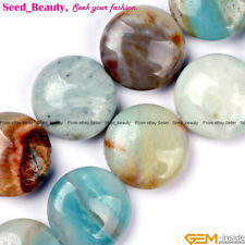 "Natural Amazonite Stone Coin Loose Jewelry Making Beads Strand 15"" Mixed-color"